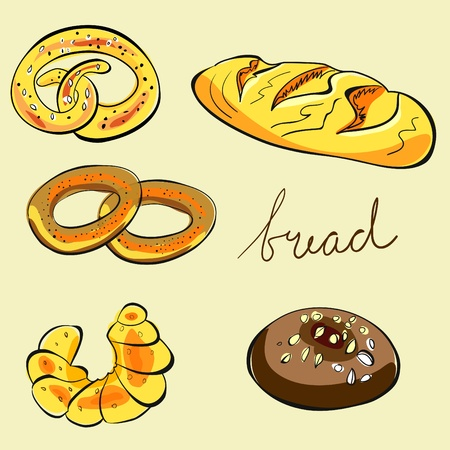 cartoon words: Bread