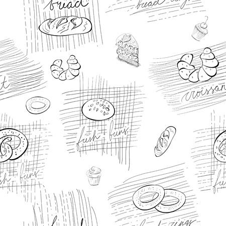 Patrón transparente con pan y bollos