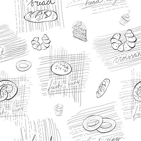 bread roll: Seamless pattern with bread and buns Illustration