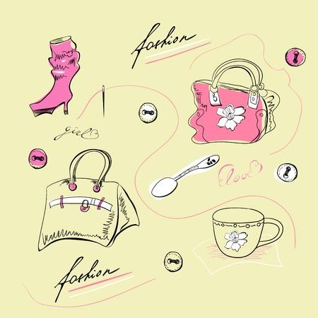 designer bag: Conjunto de accesorios de moda femenina