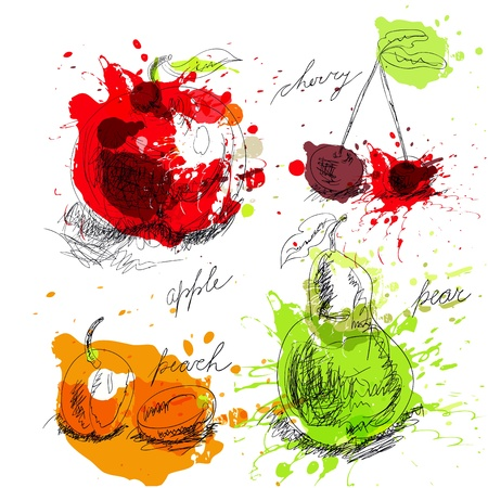 ink spot: Set of fruit
