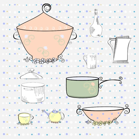 old kitchen: Kitchen equipment  Illustration