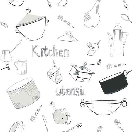 old kitchen: Seamless wallpaper with utensils