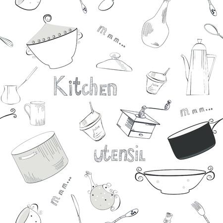 Seamless wallpaper with utensils Stock Vector - 10532314