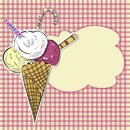 gofre: Ilustraci�n estilizada helado