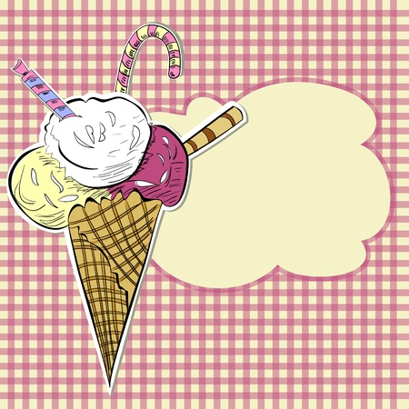 waffle: Stylized illustration ice cream