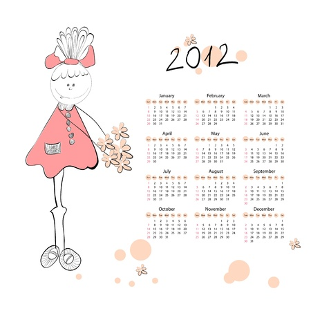Calendar for 2012 with a small girls  Vector