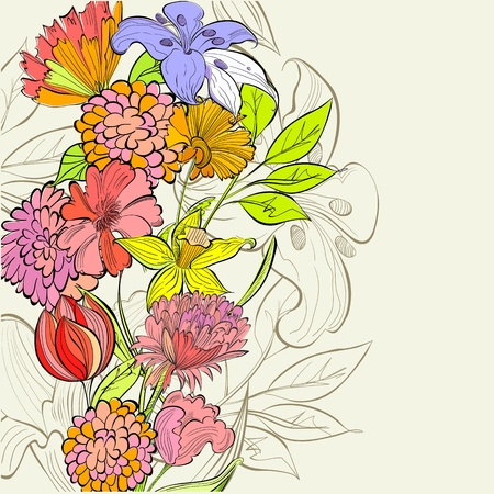 flores vintage: Template for floral card Illustration