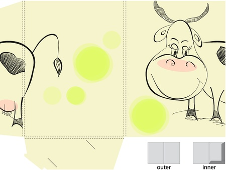 cows grazing: Template for folder with illustration of cow