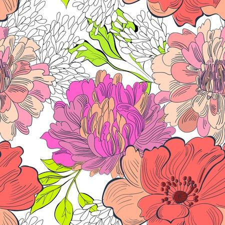 floral wallpaper: Decorative floral seamless wallpaper  Illustration