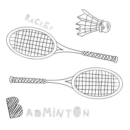 small group of objects: Badminton Illustration