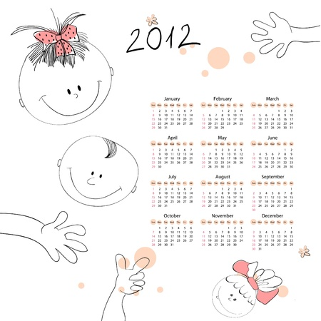 Calendar for 2012 with a smalls kids Stock Vector - 10730189