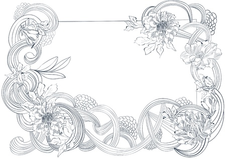 flores vintage: Template for card with stylized floral element