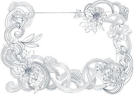 Template per scheda con elementi floreali stilizzati
