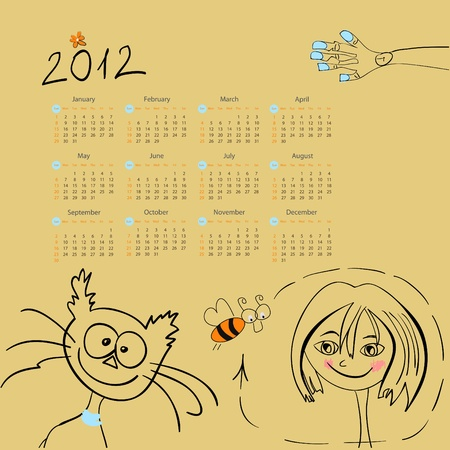 Calendar for 2012 with Girl and cat Vector