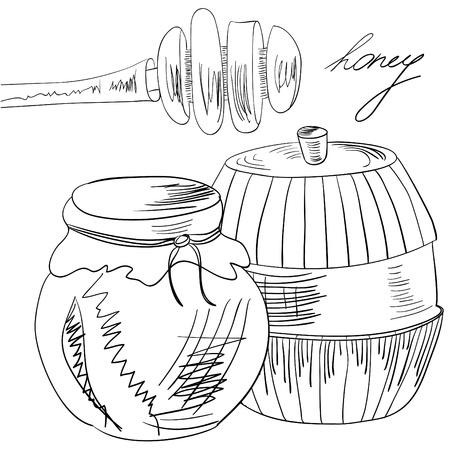 honey pot: Sketch with glass jar full of honey and stick