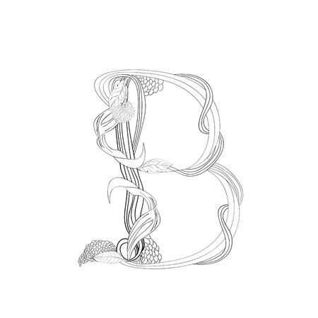 Floral Schriftart, Buchstabe B