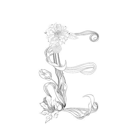 Floral font, Letter E Vector