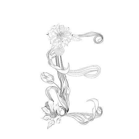 flower font: Floral font, Letter E Illustration
