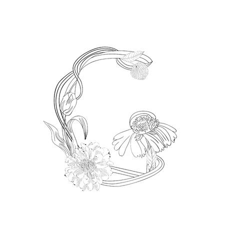 Floral font, Letter G Vector