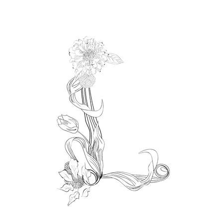 Floral font, Letter L Stock Vector - 10897377