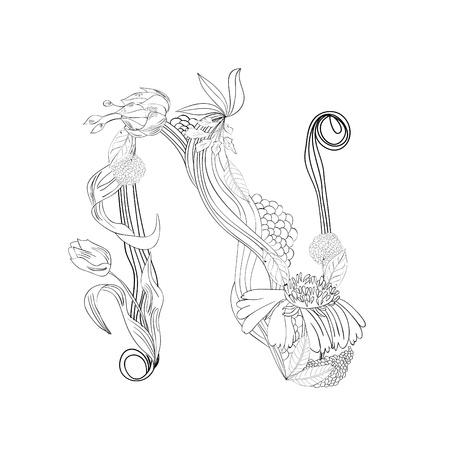 Floral font, Letter N Stock Vector - 10897385