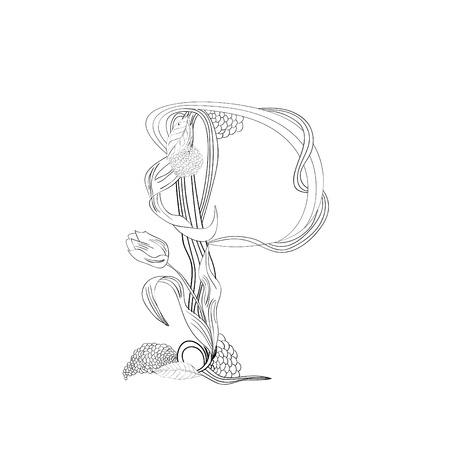 Floral font, Letter P Vector