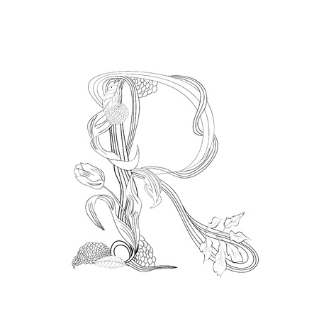 Floral font, Letter R Stock Vector - 10897337