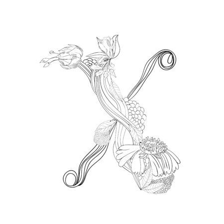 Floral font, Letter X Vector