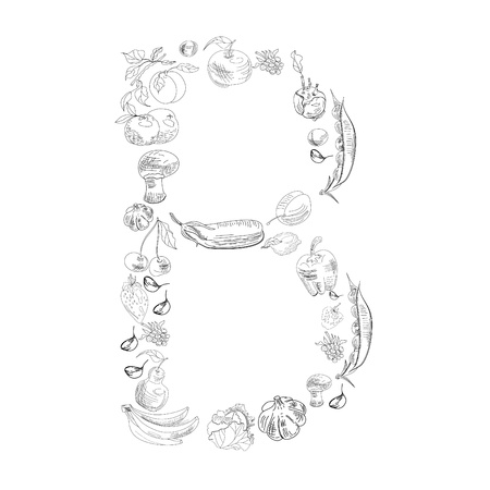 Decorative font with fruit and vegetable, Letter B Vector