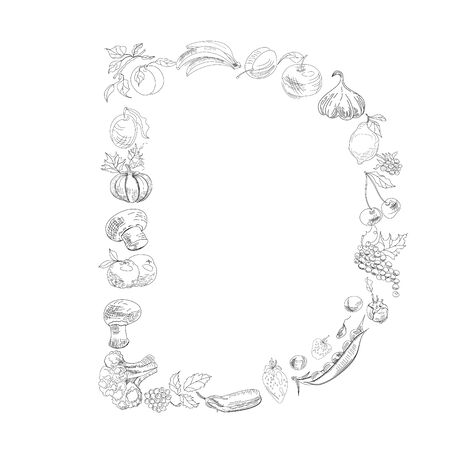 Decorative font with fruit and vegetable, Letter D Vector