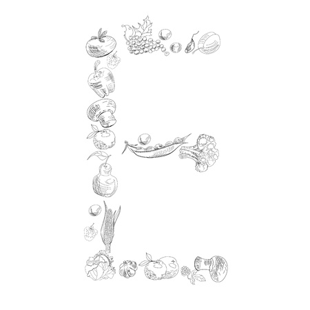 Decorative font with fruit and vegetable, Letter E Vector