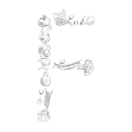 Decorative font with fruit and vegetable, Letter F Vector