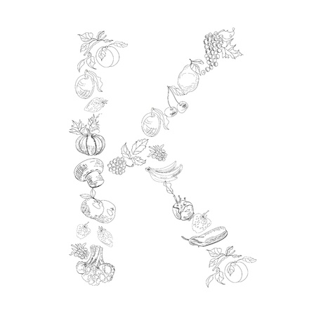 Decorative font with fruit and vegetable, Letter K Vector