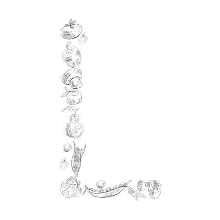 Decorative font with fruit and vegetable, Letter L Vector