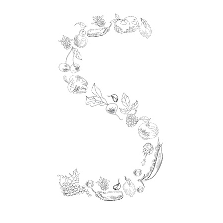 Decorative font with fruit and vegetable, Letter S Vector