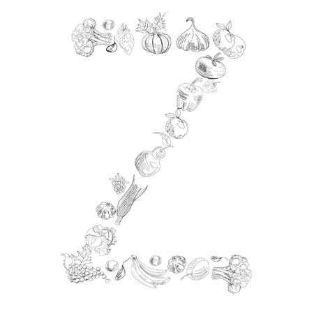 Decorative font with fruit and vegetable, Letter Z Vector