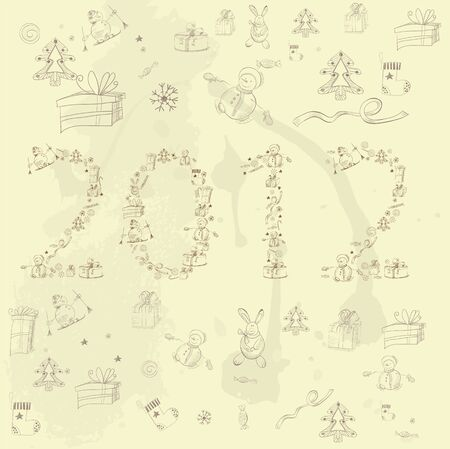 Cartoon style inscription 2012  Vector