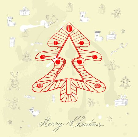 Decorative card with christmas tree Vector