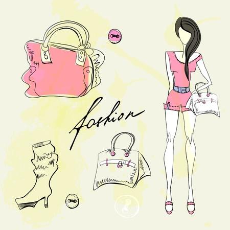 designer bag: Set de accesorios de moda femenina Vectores
