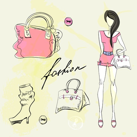 fashion boutique: Set of female fashion accessories  Illustration