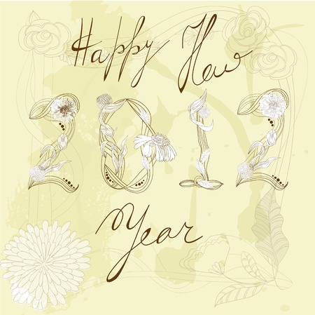 Decorative background  with inscription 2012 and Happy New year  Vector