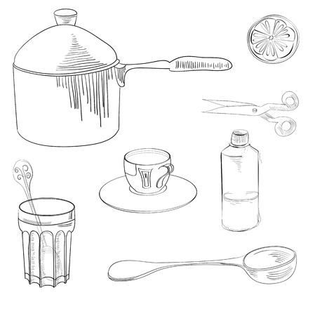 utensilios de cocina: Sketch con el equipo de cocina Vectores
