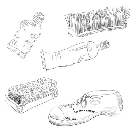 waxing: Sketch with shoes accessories