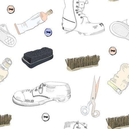 shoe repair: Seamless wallpaper with shoes, shoe brush, shoe cream