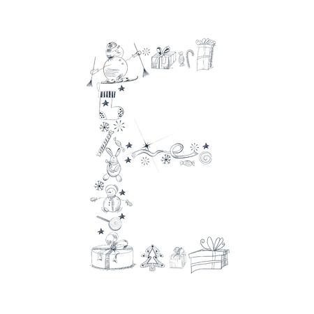 Decorative christmas font. Letters E Vector