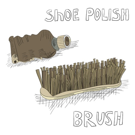 Shoe polish and brush Vector