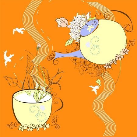 Decorative background with cup and teapot Vector
