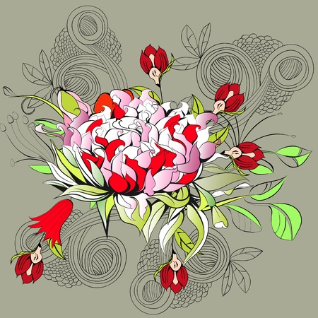 paeony: Decorative background with peony flower
