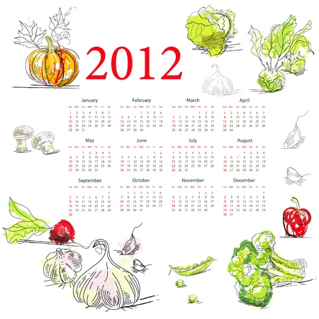 garden peas: Calendar for 2012 with vegetable  Illustration